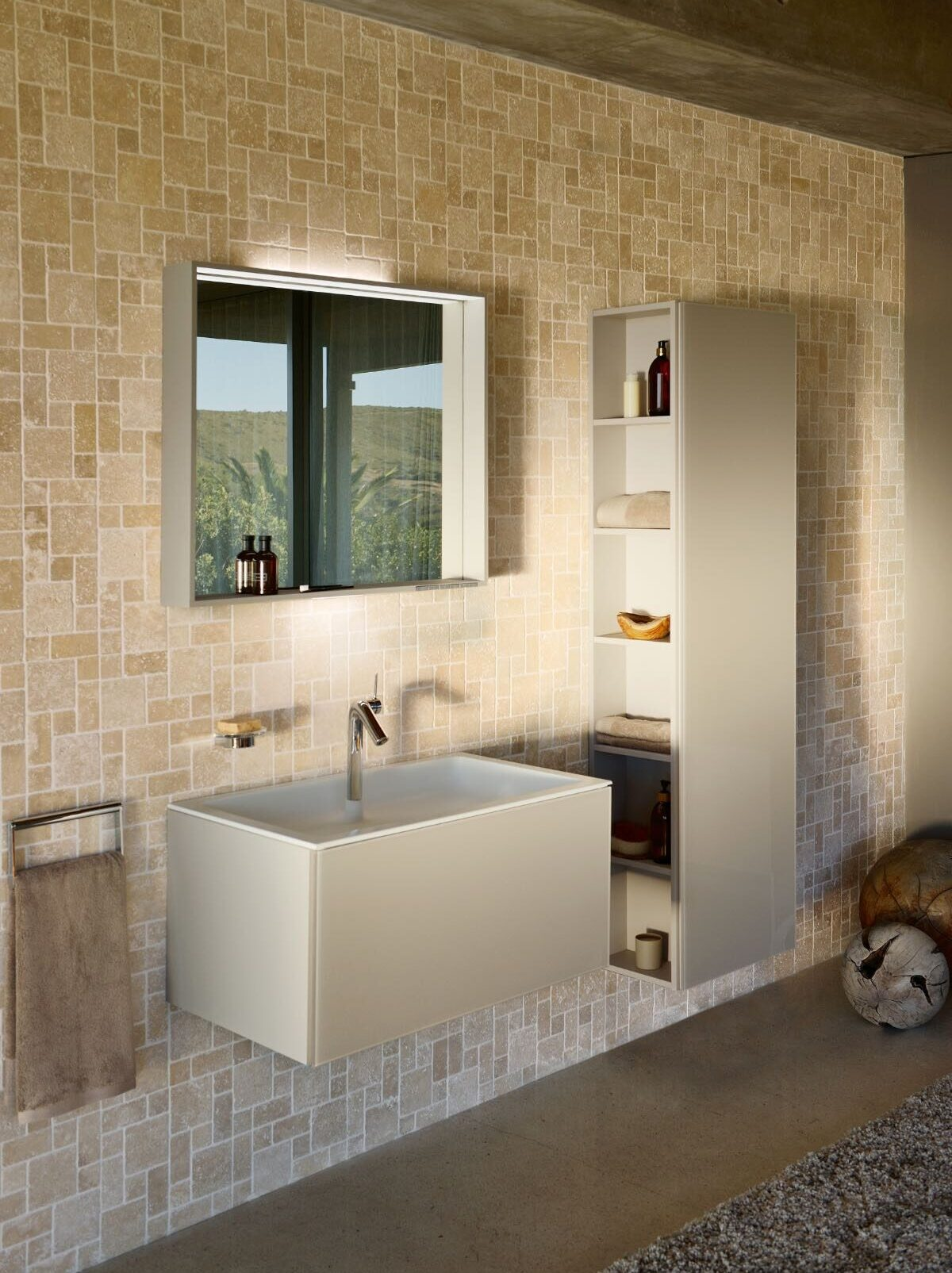 Keuco Plan Tall Cabinet with Open Shelving Colour reference 2