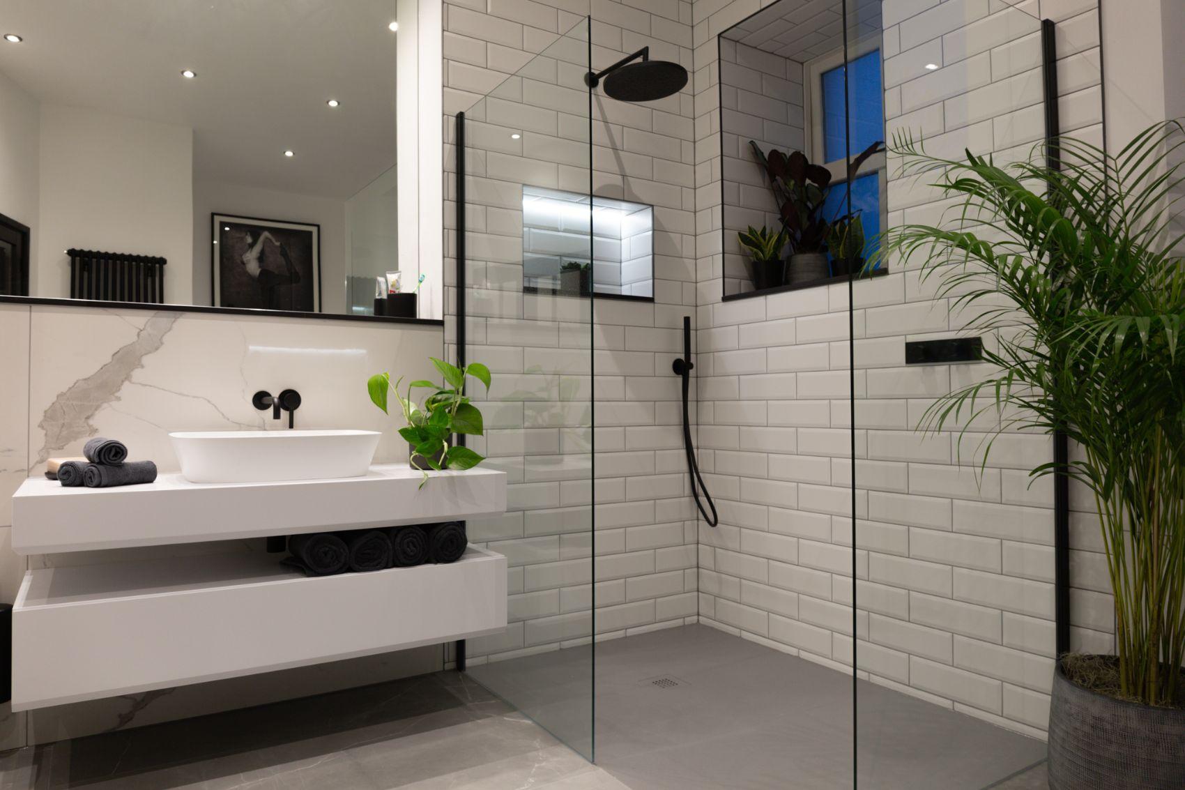 joes bathroom shower glass and sink